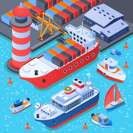 Port with ships isometric composition with dock equipment, depot, cargo vessel, ferry and small boats