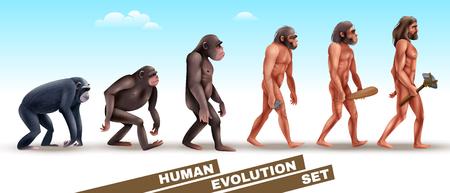 Conjunto de personajes de la evolución humana desde primates hasta homo sapiens sobre fondo de cielo azul
