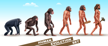 Human evolution set of characters from primates to homo sapiens on blue sky background