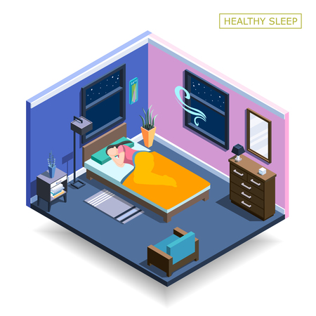 Full sleep isometric composition with human character during night Ilustrace