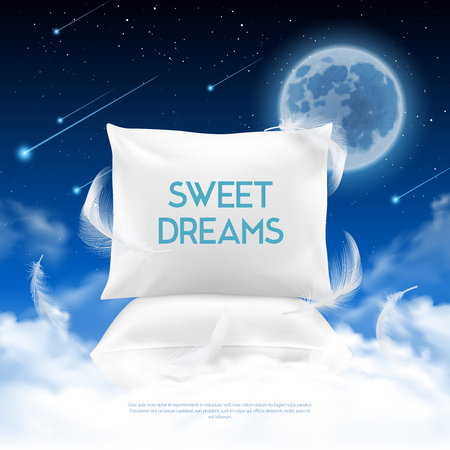 Better night sleep cushions realistic promotion poster Stock Illustratie