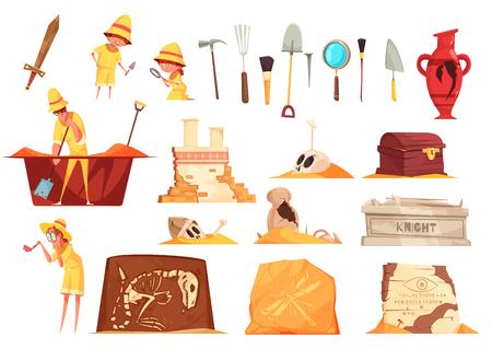 Conjunto de iconos de arqueología Ilustración de vector