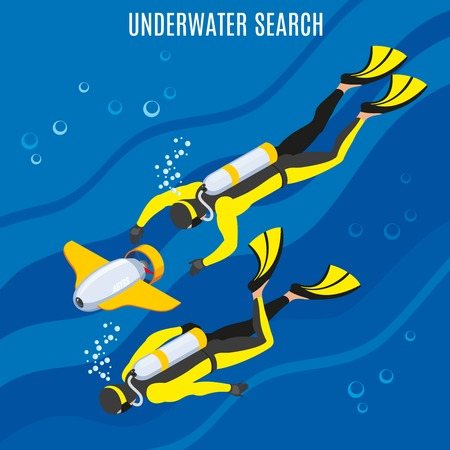 Divers with unmanned equipment during underwater search on blue background