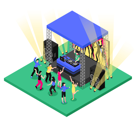 Outdoor party festival event isometric composition