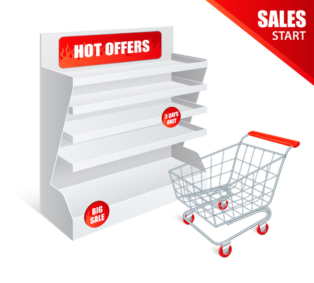 Sale promotion shelf blank empty realistic template