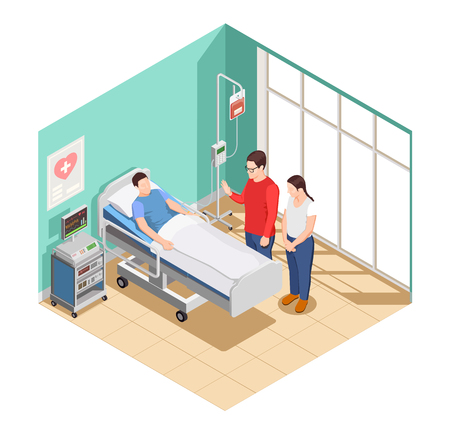 Visit friends to patient lying in hospital ward isometric composition