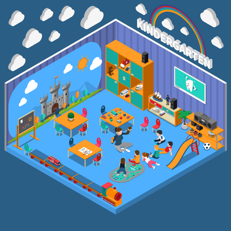 Kindergarten isometric composition Illustration