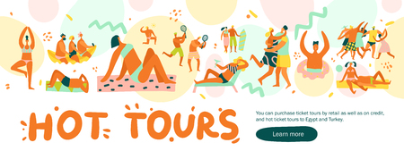 Flat design hot tours banner with people sunbathing playing and dancing on vacation. Illustration