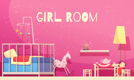 Room for girl with pink walls