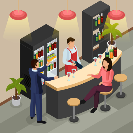 Bar restaurant isometric background