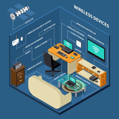 Work place with wireless devices Stock Illustratie