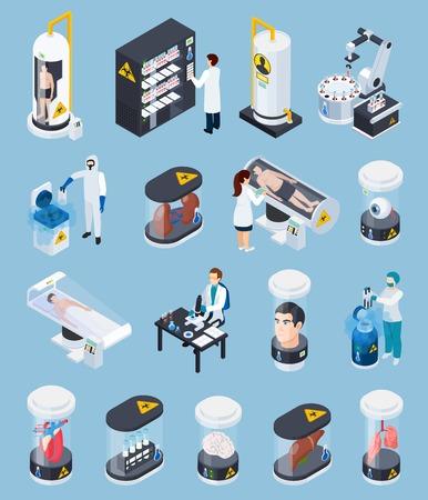 Cryonics cryogenics transplantation isometric icons set