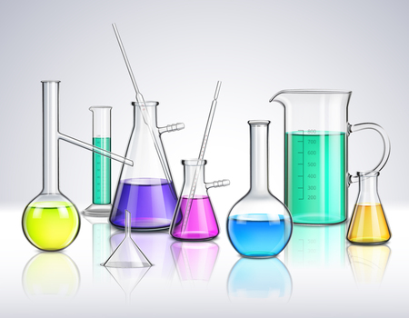 Laboratory glassware composition Illustration