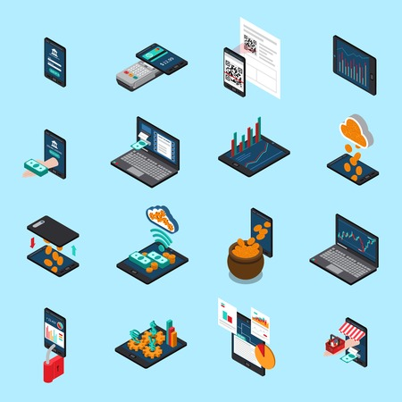 Financial technology isometric icons