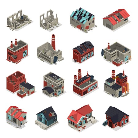 Abandoned buildings isometric set