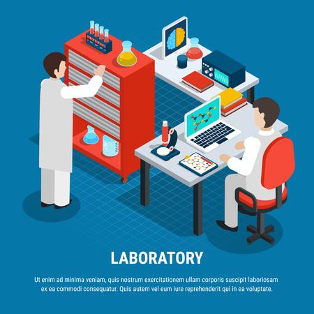 Zwei Spezialisten, die am isometrischen Konzept des medizinischen Labors auf 3d Hintergrundvektorillustration des blauen Hintergrunds arbeiten