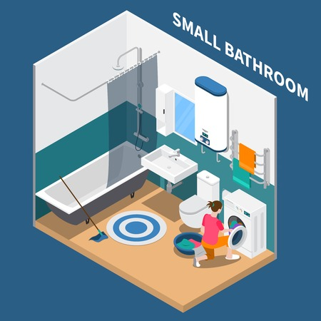 Small bath room isometric composition with plumbing, water heater, laundry machine, towel dryer, vector illustration
