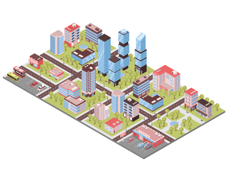 City district isometric composition with business center office towers auto repair parking lot stores buildings vector illustration   Ilustração