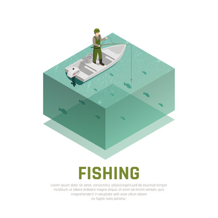 Fish industry seafood production isometric composition with image of fisherman on boat with rod and text vector illustration