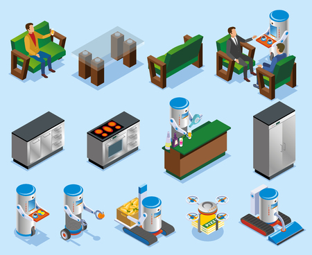 Isometric robotic restaurant industry composition with different elements of robots and kitchens vector illustration
