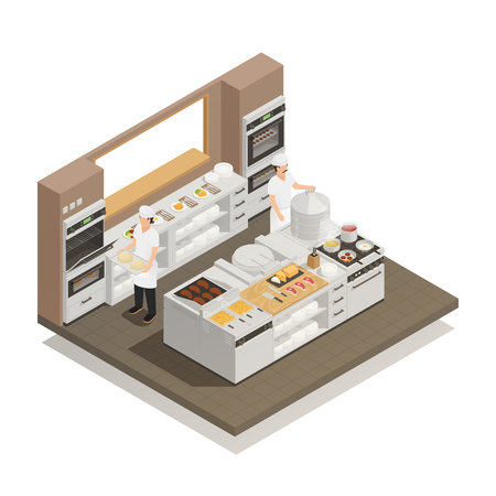 Two cooks working in restaurant kitchen with professional cooking equipment isometric composition 3d vector illustration Illustration