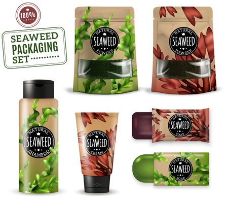 Set of realistic sea weed cosmetic packaging for shampoo, soap, cream, powders, isolated vector illustration