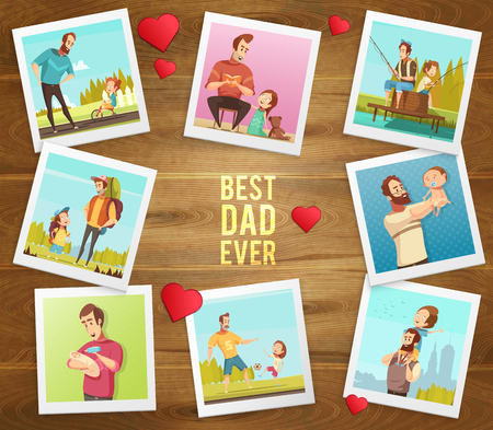 Dad day composition on wooden background with hearts text and polaroid photographs of father and son vector illustration Illustration