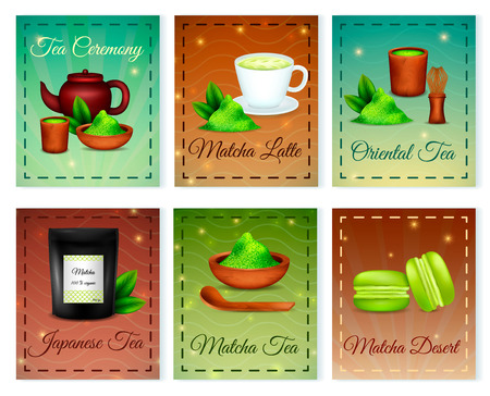 Matcha japanese tea green organic oriental powder 6 card composition with latte dessert accessories isolated vector illustration Ilustração