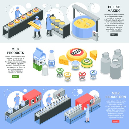 Milk production, cheese making, dairy products, horizontal isometric banners with factory equipment isolated vector illustration   Çizim