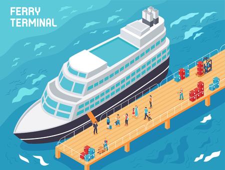 Terminal de ferry con buques modernos, turistas y cargadores con carga en el muelle, ilustración vectorial isométrica