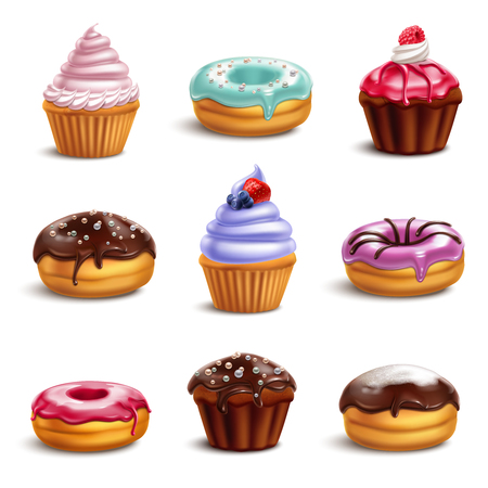 Cookies biscuits cupcakes donuts realistic 3d collection with isolated icons of colourful confectionery products with shadows vector illustration