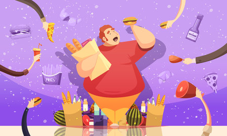 Fat man cartoon with food poster holding a hamburger and package of baked goods