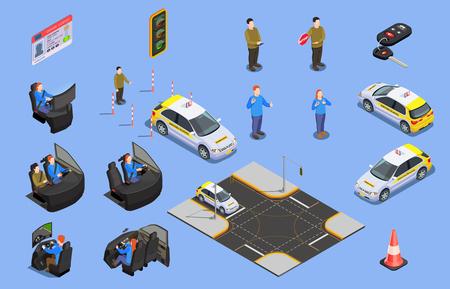 Collezione di icone isometriche di scuola guida di simulatori di auto, patente di guida e personaggi umani con illustrazione di vettore del cono di sicurezza