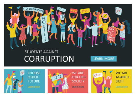People parade horizontal banners with group of emotional people protesting against corruption and lie flat vector illustration