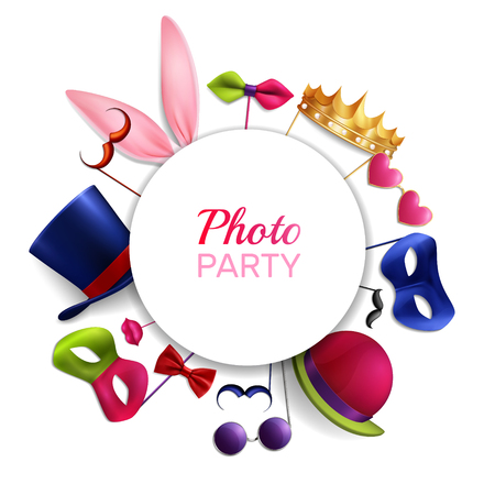 Photo booth party round composition with realistic images of masquerade costume colourful essential elements and text vector illustration