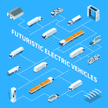 Futuristic electric vehicles isometric flowchart on blue background with trucks, parking, cleaning equipment, charging station vector illustration