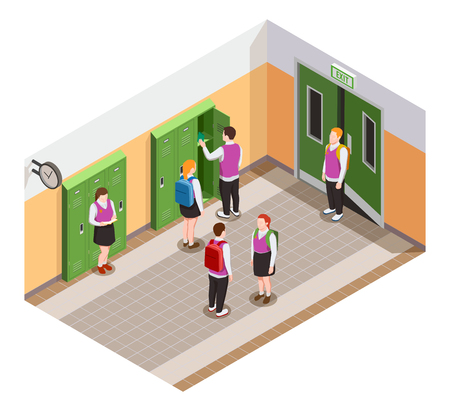 High school isometric people composition with human characters of students in hallway during time of break vector illustration