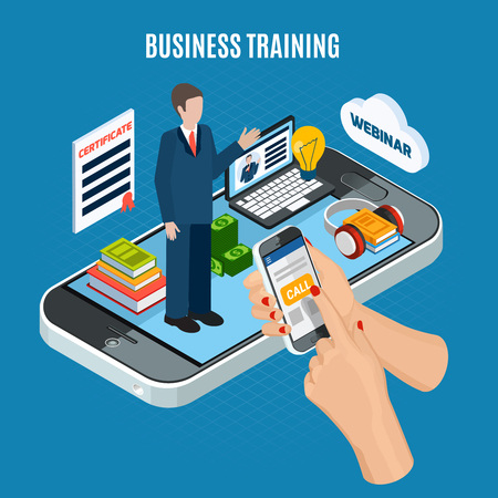 Isometric colored webinar concept with use smartphone for business training schematic composition vector illustration