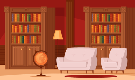Traditional library interior flat orthogonal composition with bookshelves terrestrial globe lamp comfortable couches carpet vector illustration