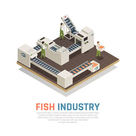 Fish industry seafood production isometric composition with automatic industrial conveyors for marine food with editable text vector illustration Illustration
