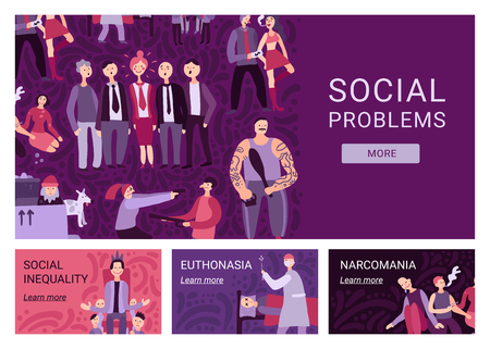 Social problems horizontal banners demonstrating information about narcomania euthanasia social inequality flat vector illustration
