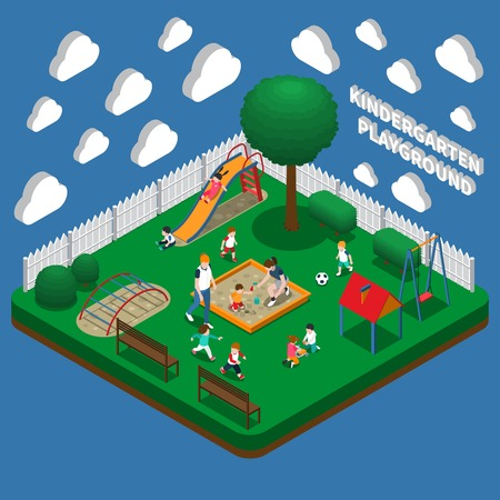 Kindergarten play ground, kids with educators during outdoor games isometric composition on blue background vector illustration