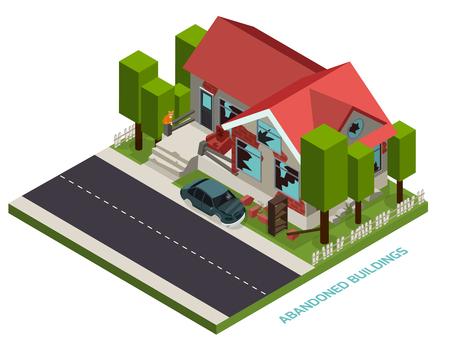 Abandoned building isometric design concept illustration.