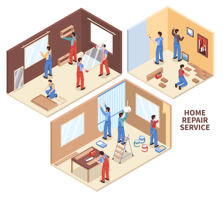 Home repair isometric compositions with painting of walls, parquet works, carpentry, windows installation isolated vector illustration