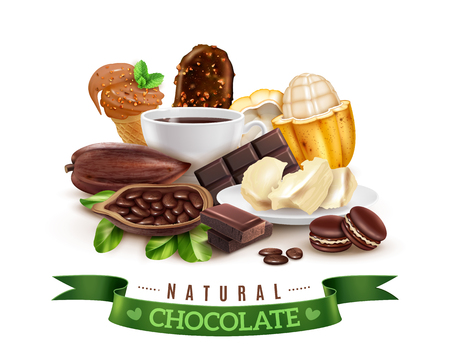 Realistic cocoa products composition with fresh and dried pods, cacao butter, hot drink, chocolate desserts vector illustration Illustration