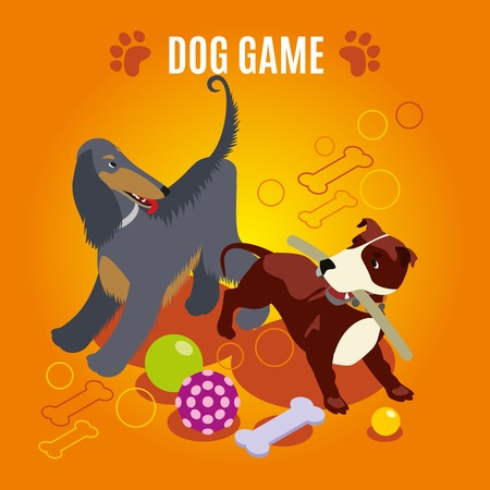 Dog game isometric composition on orange background with domestic animals and various toys, paw imprints, vector illustration
