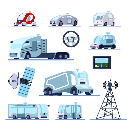 Autonomous vehicles cruise system flat icons set with unmanned car truck bus radar gps controlled vector illustration