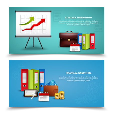 Strategic management and financial accounting business banners set realistic isolated vector illustration
