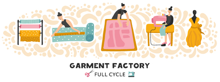 Garment factory horizontal vector illustration with full cycle of clothing making from textile to dress Vectores