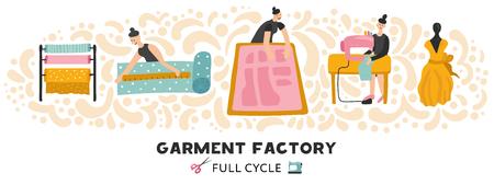 Kledingstuk fabriek horizontale vectorillustratie met volledige cyclus van kleding maken van textiel tot jurk